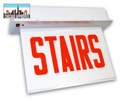 LED Recessed Edgelit Stairs Sign | E-X1ER Series | Single Face | Battery Backup