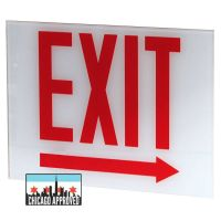 Glass Panel for E-X1X Series Exit Signs | Right Arrow